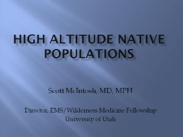 High Altitude Native Populations - McIntosh