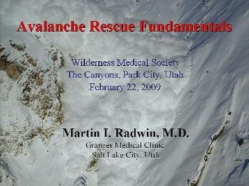 Organized Avalanche Rescue: The National Ski Patrol Protocol - Radwin