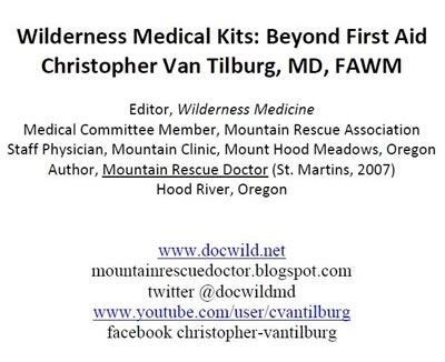 Medical Kits: Beyond First Aid, Van Tilburg