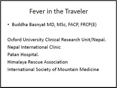 Fever in the Traveler - Buddha Basnyat