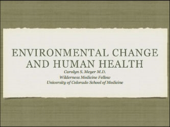 Health Implications of Environmental Change - Carolyn Meyer